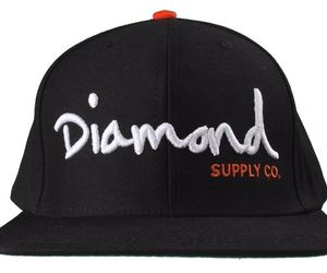 Diamond Supply Co OG Script Logo Black Orange Snapback Hat Baseball Cap, an item from the 'Awesome Baseball Hats' hand-picked list