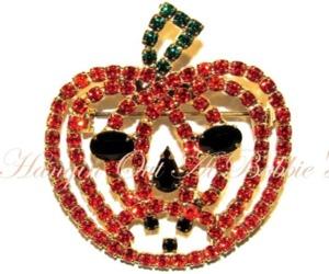 Pumpkin Jack O Lantern Pin Brooch Orange Black Crystal Autumn Fall Halloween, an item from the 'Pumpkin Patch' hand-picked list
