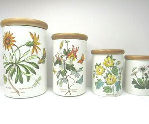 4 VINTAGE Botanic Garden Portmeirion Canister Storage Spice Jars VARIETY SET, an item from the 'The Spice is Right' hand-picked list