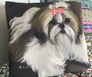 SHIH TZU PRINTED PILLOW FROM MONIQUE'S BEST SHIH TZU PAINTING, an item from the 'I Shih-Tzu Not' hand-picked list