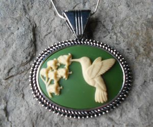 HUMMINGBIRD CAMEO NECKLACE - OLIVE GREEN - SPRING - LILY - QUALITY, an item from the 'Green is the Color of Spring and St Patty's Day' hand-picked list
