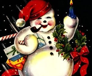 Jolly Snowman Vintage Christmas Image Digital Art, an item from the 'Santas & Snowmen' hand-picked list