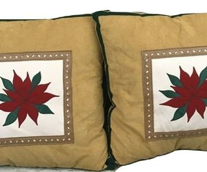 A Set Of 2 Christmas Brown Mistletoe Flower Decorative Pillows, an item from the 'Handmade Christmas' hand-picked list