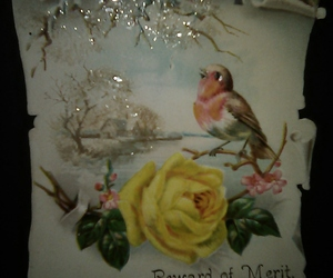 Antique Victorian Card Pretty Bird Glitter Roses, an item from the 'Birds of a Feather....' hand-picked list