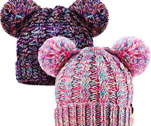 SATINIOR 2 Pieces Knitted Kids Winter Hat with Pompom Ears Toddler Boy Girl Bean, an item from the 'Kids Hats, Mittens, and Scarves' hand-picked list