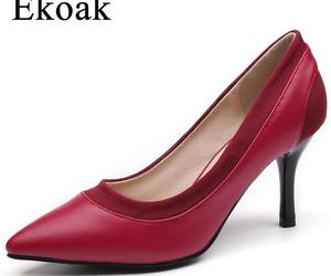 Ekoak Autumn Genuine Leather Wedding Shoes Woman Sexy High Heels Women Pumps Fas, an item from the 'Life is short. Buy the shoes.' hand-picked list