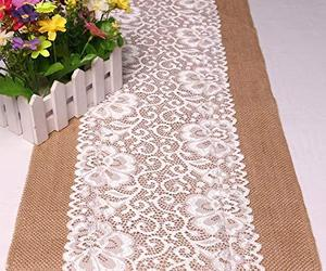 Feelmate 12x108 Inch Lace Burlap Table Runner for Wedding Decor 4packs, an item from the 'A Reception to Remember' hand-picked list