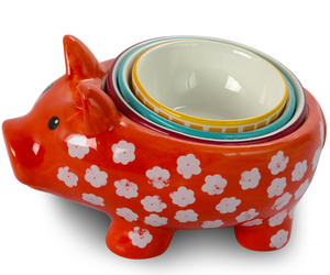 Urban Market Life on the Farm 4 Piece Durastone Figural Pig Measuring Cup Set in, an item from the 'Friends in the Kitchen' hand-picked list
