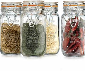 set of 4 Elegant Home Airtight Glass Spice Jar Hermetic Seal Bail & Trigger/Jar, an item from the 'The Spice is Right' hand-picked list