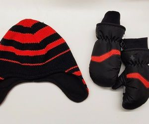 Kids Winter Hat & Ski Mittens Hot Paws Brand Cold Weather Gloves Accessory Red, an item from the 'Kids Hats, Mittens, and Scarves' hand-picked list