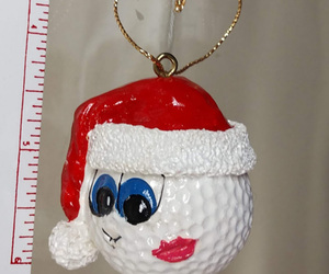 Golf Ball Christmas Ornament Collectibles Set of 2 Santa Golf Ornaments Decor, an item from the 'Golf is my thing' hand-picked list