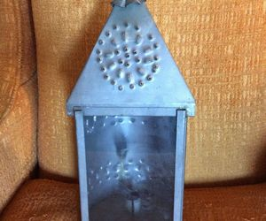 Vtg Farm  Antique Punched Pierced light Tin Old Barn Candle Lantern Primitive 2, an item from the 'Let There Be Light!' hand-picked list