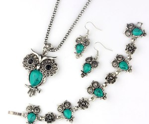 VIVILADY Fashion Owl Jewelry Sets Women Vintage Silver Color Black Blue Natural , an item from the 'Owl wear that' hand-picked list