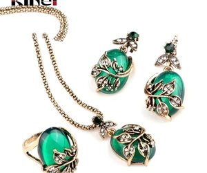 Kinel 3Pcs Green Oval Crystal Flower Jewelry Sets Antique Gold Vintage Ring Earr, an item from the 'Green is the Color of Spring and St Patty's Day' hand-picked list