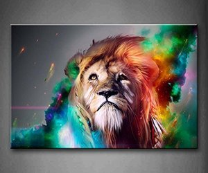 Firstwallart Colorful Lion Artistic Wall Art Painting The Picture Print On Canva, an item from the 'Add a POP of COLOR to your room' hand-picked list
