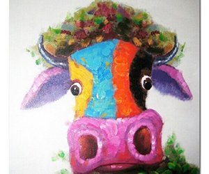 Muzagroo Art Cow Oil Paintings Modern Art Handpainted on Canvas Wall Decor Art 2, an item from the 'Add a POP of COLOR to your room' hand-picked list