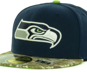 New Era Seattle Seahawks Salute Service Army Marines Camo Visor Fitted Hat Cap, an item from the 'Awesome Baseball Hats' hand-picked list