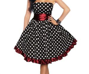 PLUS SZ 18 ROCKABILLY RETRO BLACK WHITE POLKA DOTS RED RUFFLED STRAPLESS DRESS, an item from the 'Connecting the dots' hand-picked list