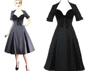 S 6 36 RETRO DEADLY SEXY ROCKABILLY DAMES BLACK POLKADOT SWEETHEART SWING DRESS, an item from the 'Connecting the dots' hand-picked list