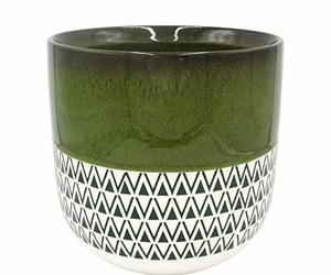 "Stone & Beam Mid-Century Patterned Planter, 10.53""H, Dark Green, an item from the 'Pretty Planters' hand-picked list"