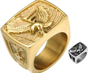 Eagle Ring Gold Silver Biker Hawk American Patriotic Stainless Steel Sizes 8-12, an item from the 'Flag Focused' hand-picked list