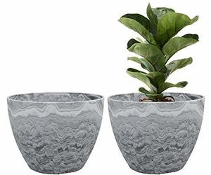 Flower Pot Large Garden Planters 11.3 Inches Pack 2 Outdoor Indoor, Resin Plant , an item from the 'Pretty Planters' hand-picked list