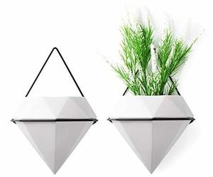 T4U Diamond Wall Planters Geometric Wall Vases Set of 2, Ceramic Mounted Succule, an item from the 'Pretty Planters' hand-picked list