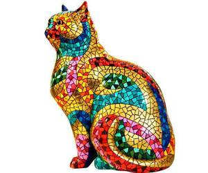 Barcino Carnival Large Cat Sculpture Hand Painted Design, an item from the 'Add a POP of COLOR to your room' hand-picked list