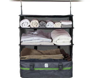PORTABLE LUGGAGE SYSTEM - PACKABLE HANGING TRAVEL SHELVES & CUBE ORGANIZER, an item from the 'Travel Must-Haves' hand-picked list