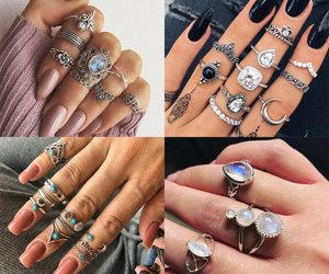 2019 New Fashion Retro Set Silver Gold Boho Moon Flower Midi Finger Knuckle Ring, an item from the 'Supernatural Woman' hand-picked list