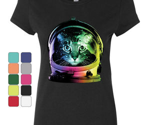 Space Cat Cotton T-Shirt Astronaut Kitten Neon Galaxy, an item from the 'Green is the Color of Spring and St Patty's Day' hand-picked list