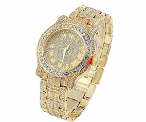 AVENTURA Pave Crystal 14K Gold  PlatedBling Lab Crystal King Rapper Watch L5, an item from the 'Watches for Her ' hand-picked list