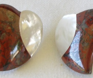 "Red Jasper Mother of Pearl Heart Shape Gemstone 1"" Pierced Stud Earrings , an item from the 'Valentine HEARTS' hand-picked list"