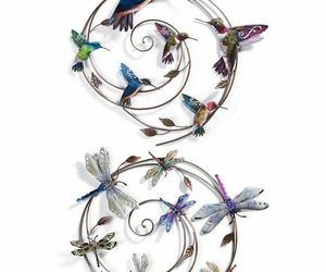 """One 27"""" Round Metal Wall Decor Sprial Piece -Choice of Hummingbird or Dragonfly, an item from the 'Home Decor' hand-picked list"""