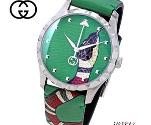 Gucci G-Timeless Green Leather Kingsnake Watch YA1264081 - RRP 980 USD, an item from the 'Green is the Color of Spring and St Patty's Day' hand-picked list