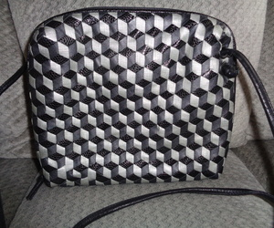 Sharif Leather Crossbody Bag Black & Gray Squares Woven Shoulder Bag Tote, an item from the 'Geometrically Speaking..' hand-picked list