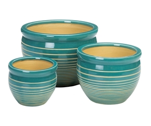 Blue And White Stripe Ceramic 3PC Planter Pot Set, an item from the 'Pretty Planters' hand-picked list