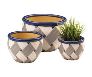 Geo Print Ceramic 3PC Planter Pot Set, an item from the 'Pretty Planters' hand-picked list