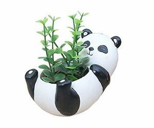 Cute Shabby Chic Resin Panda Planter Vase for Succulents & Plants Decor Piece, an item from the 'Pretty Planters' hand-picked list