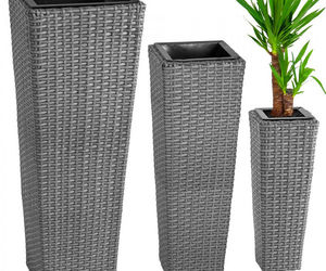 3X Rattan Garden Tube Planter Vase Flower Pots Patio Furniture Garden - Gray, an item from the 'Pretty Planters' hand-picked list
