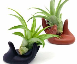 2 Pcs Small Clay Air Plant Stand Pot Art Hand Shape Holder Fuego Planter Lona..., an item from the 'Pretty Planters' hand-picked list