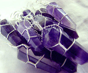 Amethyst Silver Wire Wrap Pendant LOT of 10 Wrapped Natural Crystal Point Neckla, an item from the 'Purple Passion' hand-picked list