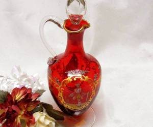 2715 Victorian Art Glass Hand Painted Gold and Ruby Red Cruet With Stopper, an item from the 'I'm Blown Away..' hand-picked list