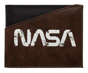 NASA TEXT LOGO BUZZ ALDRIN BLACK NYLON BROWN PU FAUX LEATHER BIFOLD MENS WALLET, an item from the 'Father's Day Finds' hand-picked list
