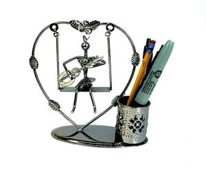 Desktop Organizer, Pen Holder Lady Figurine Heart Shape Metal Office Or Table, an item from the ' Home Office and Exercise' hand-picked list
