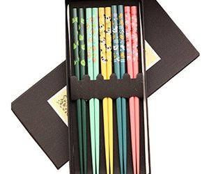 Kylin Express 5 Pairs Wooden Japanese Chopsticks Gift Reusable Chop Stick with C, an item from the 'Finds for the Foodie ' hand-picked list
