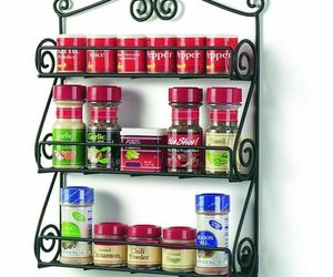 Spice Rack Shelf Wall Mount Display Black Metal Finish Cosmetic Essential Oil, an item from the 'Spice Up Your Life' hand-picked list