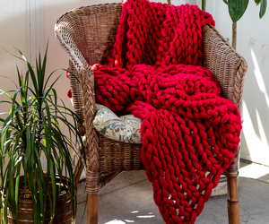 Donna Sharp Red Acrylic Chunky Knit Throw, an item from the 'Quilts and Throws' hand-picked list