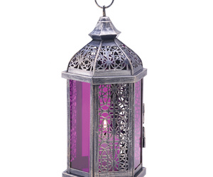 Lantern Royal purple antique pewter finish stained glass panels glow amethyst, an item from the 'Let There Be Light!' hand-picked list