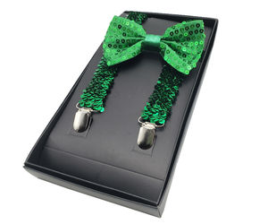 St Patricks Day Sequin Green Suspenders & Bowtie Set - Shiny Green Sequined Tie, an item from the 'St. Patrick's Day' hand-picked list